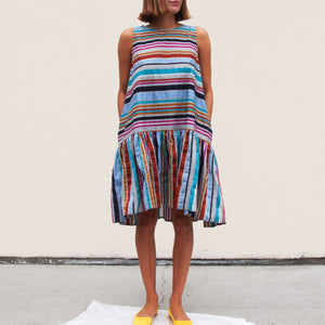 Henrik Vibskov - Master G Dress - Multi Stripe, front view, available at LCD.