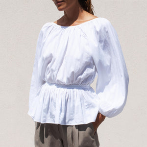 Mara Hoffman - Maud Blouse, angled view, available at LCD.