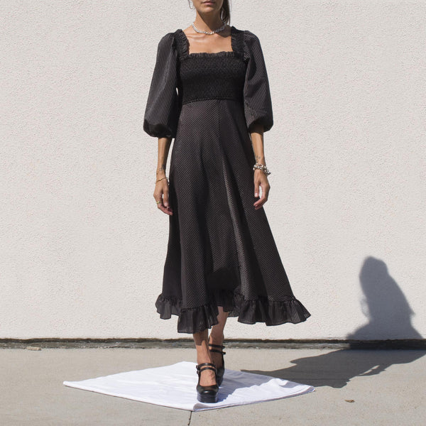 Ganni - Maxi Dress in Black Seersucker Check, front view.