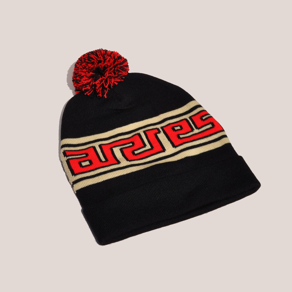 Aries - Meandros Beanie - Black/White, angled view, available at LCD.