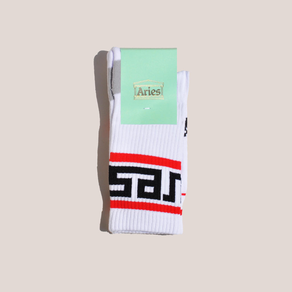 Aries - Meandros Socks - White, available at LCD.