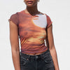 Priscavera - Mesh Baby Tee - Sunset, available at LCD.