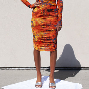 PRISCAVera - Gathered Printed Mesh Skirt - Lava, front view, available at LCD.
