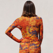 Load image into Gallery viewer, PRISCAVera - Long Sleeve Mesh Top - Lava, back view, available at LCD.