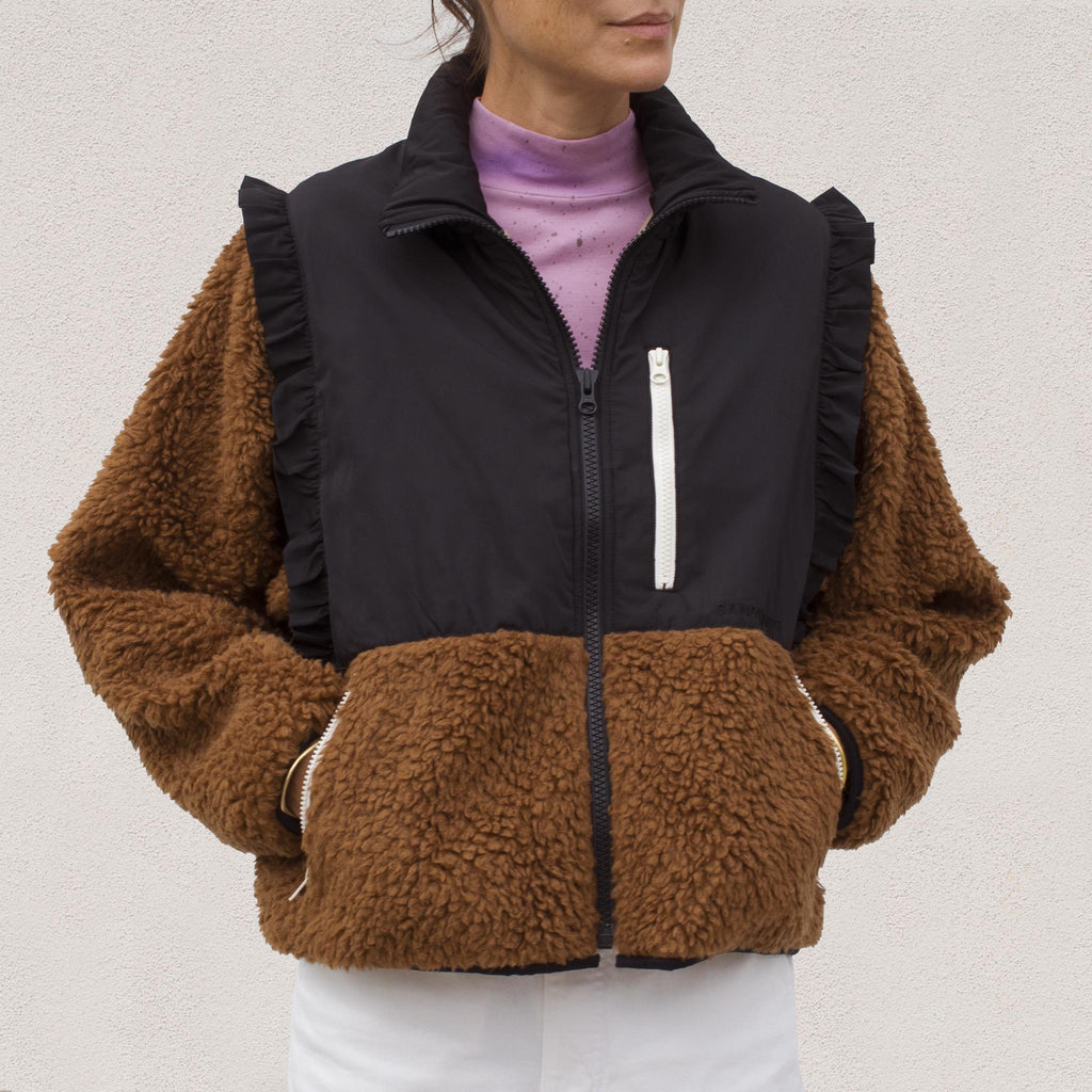 Sandy Liang - Mia Fleece in Teddy Brown, front view.