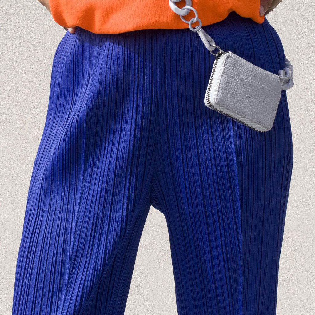 Pleats Please - Mid Rise Pleated Pant in Blue, view of pleating detail.