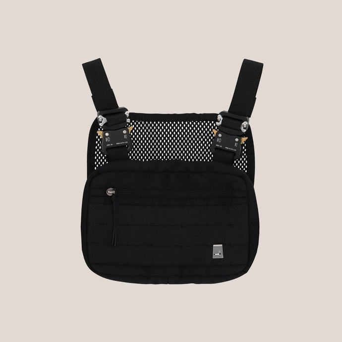 1017 Alyx 9SM - Mini Chest Rig - Black, front view, available at LCD.