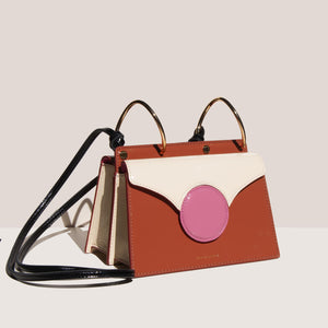 Danse Lente - Mini Phoebe Bag - Rosewood/Rose, angled view, available at LCD.
