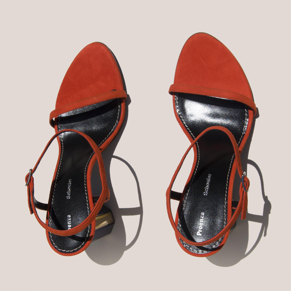 Proenza Schouler - Mirrored Suede Sandal, aerial view, available at LCD.