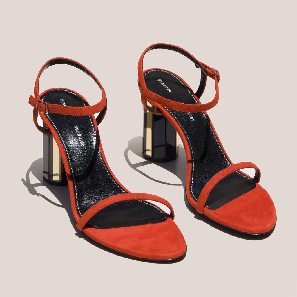Proenza Schouler - Mirrored Suede Sandal, angled view, available at LCD.