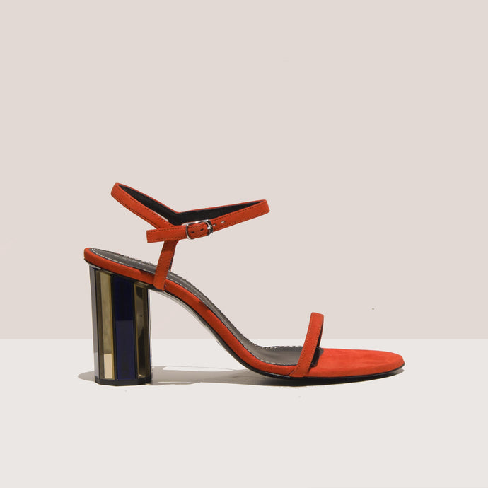 Proenza Schouler - Mirrored Suede Sandal, side view, available at LCD.