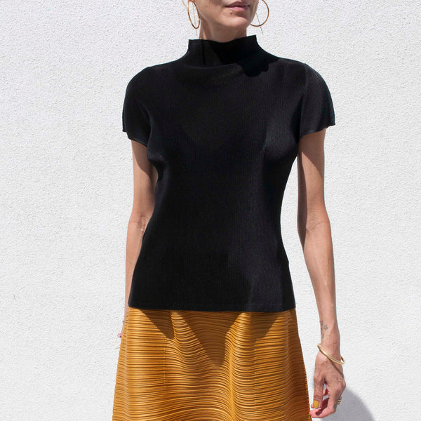 Pleats Please - Mist Mock Neck Tee, front view, available at LCD.