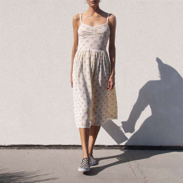 Sandy Liang - Misty Dress - Tablecloth Cream, front view, available at LCD.