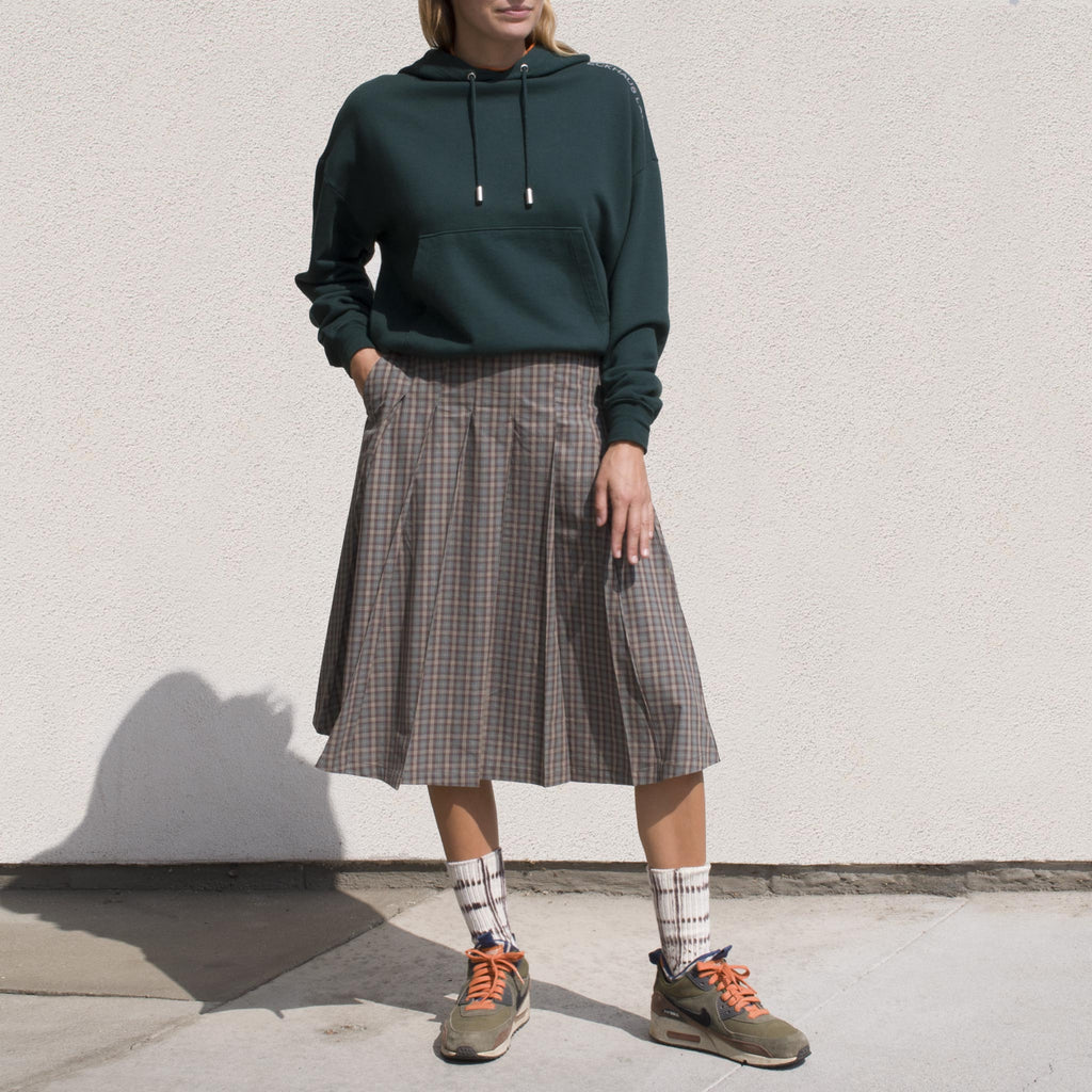 Stussy - Mix Plaid Pleated Skirt, front view.