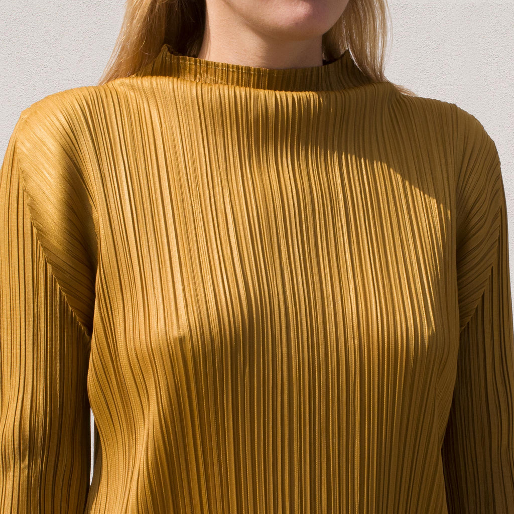 Pleats Please - Mock Neck Pleated Dress, view of pleating detail.