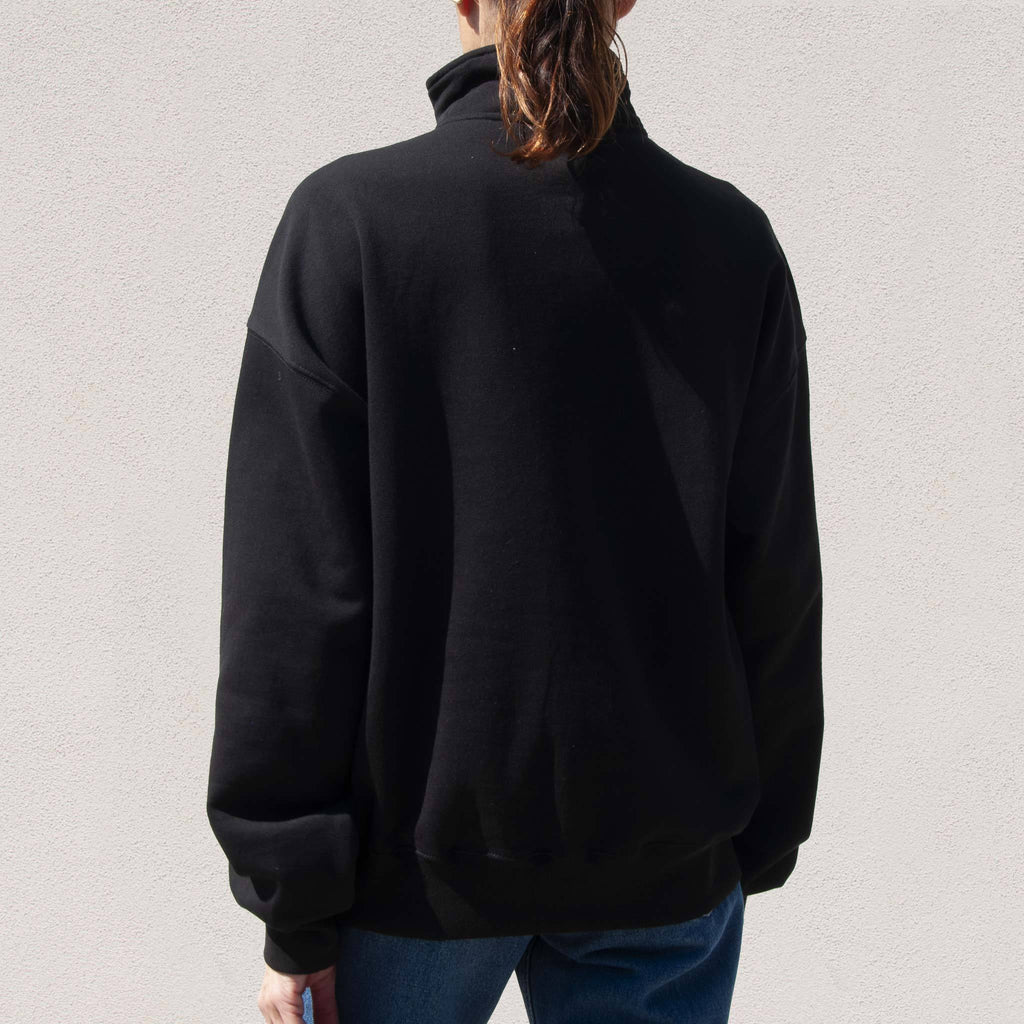 Stussy - Mock Neck Half Zip, back view, available at LCD.