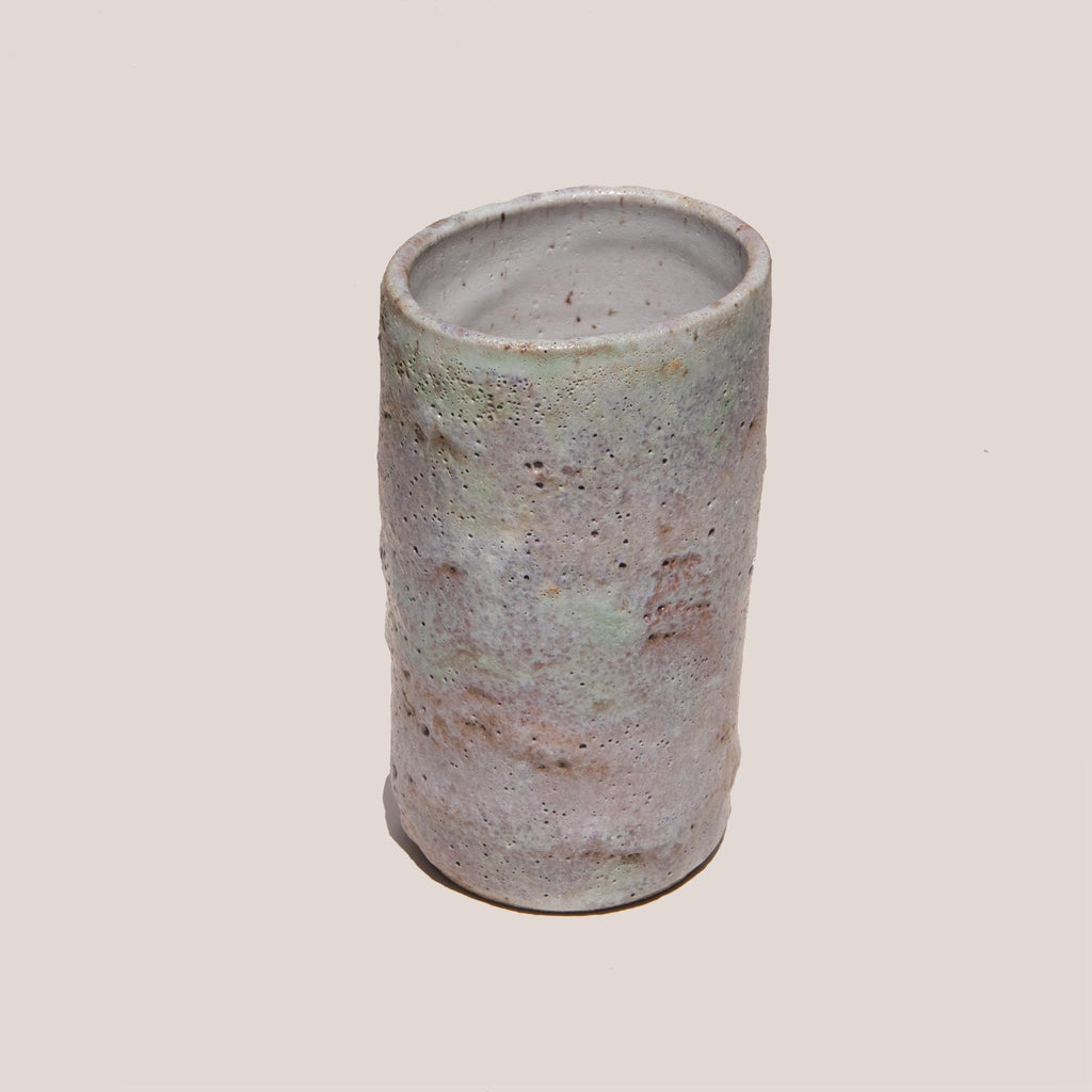 Raina Lee Ceramics - Medium Multi-Fired Volcanic Vase - Lavender, angled view, available at LCD.