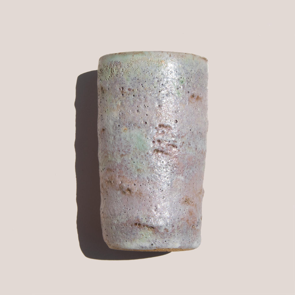 Raina Lee Ceramics - Medium Multi-Fired Volcanic Vase - Lavender, texture detail, available at LCD.