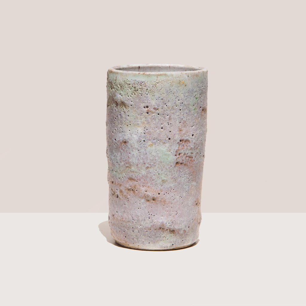 Raina Lee Ceramics - Medium Multi-Fired Volcanic Vase - Lavender, front view, available at LCD.