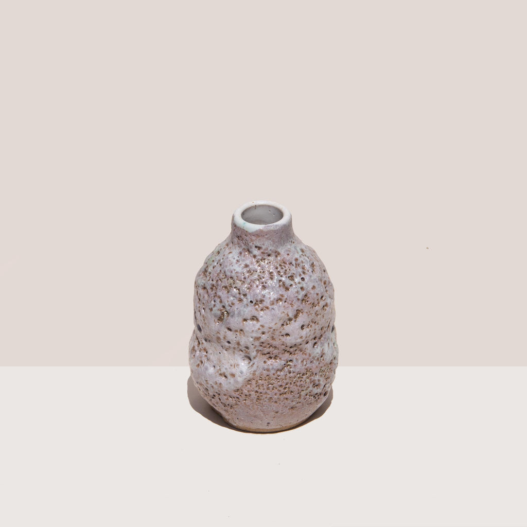 Raina Lee Ceramics - Small Multi-Fired Volcanic Vase - Lavender, angled view, available at LCD.