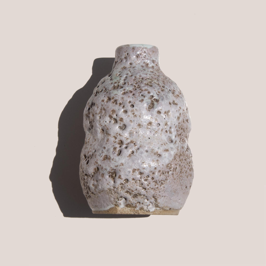 Raina Lee Ceramics - Small Multi-Fired Volcanic Vase - Lavender, texture detail, available at LCD.