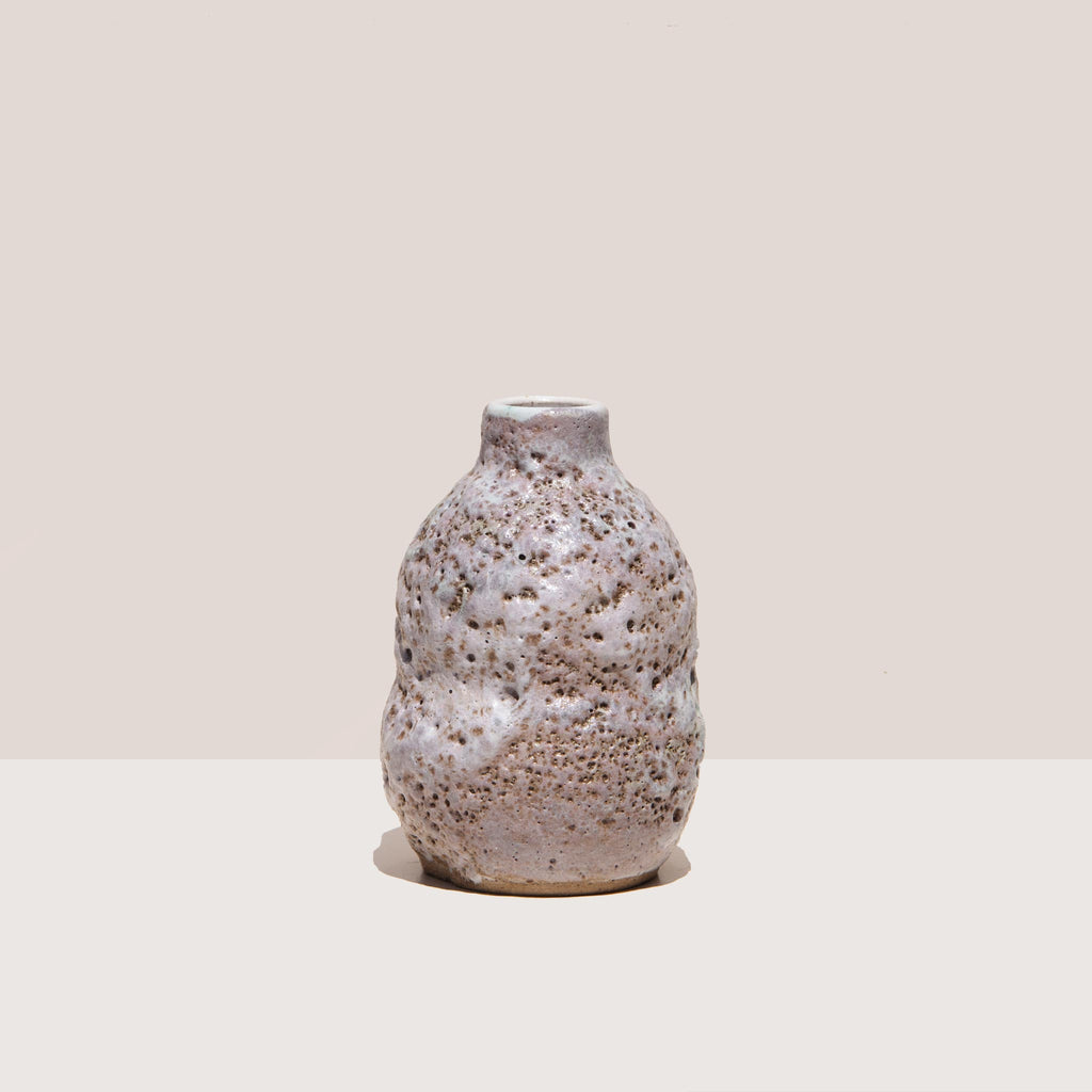 Raina Lee Ceramics - Small Multi-Fired Volcanic Vase - Lavender, front view, available at LCD.