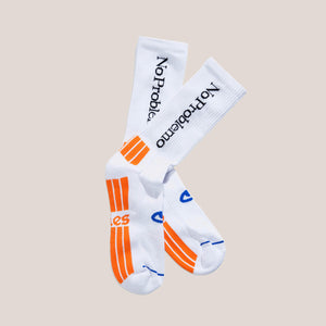 Aries - No Problemo Socks - White, available at LCD.
