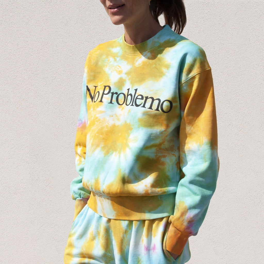 Aries - No Problemo Tie Dye Sweatshirt, angled view, available at LCD.
