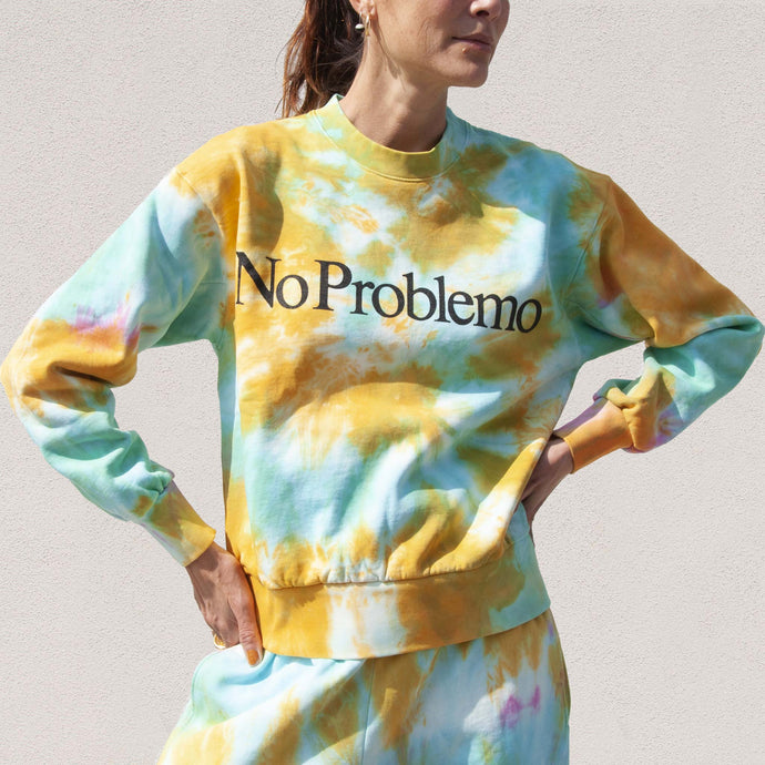 Aries - No Problemo Tie Dye Sweatshirt, front view, available at LCD.