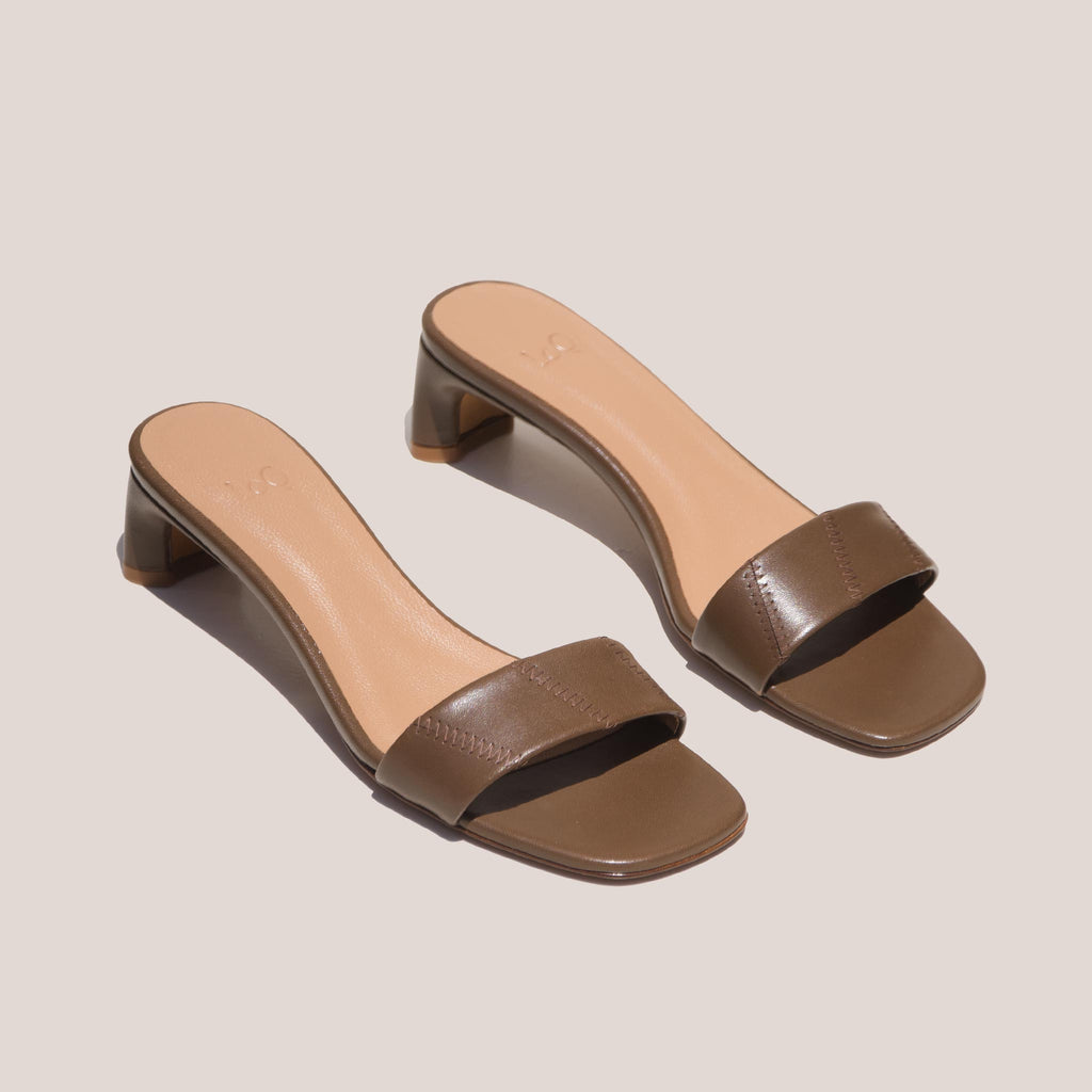 LoQ - Nona Sandals - Mousse, angled view, available at LCD.