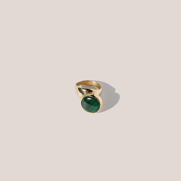 Faris - Offset Ring - Malachite, available at LCD.