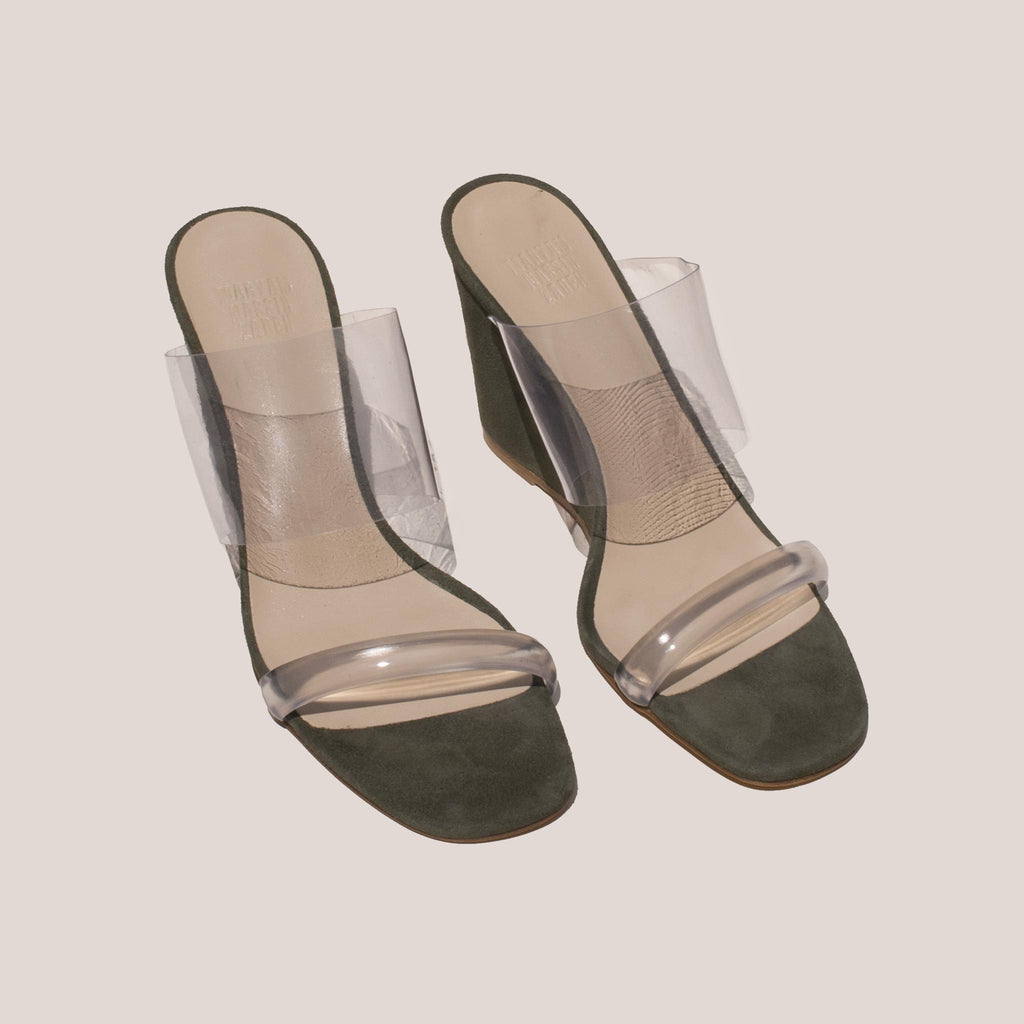 Maryam Nassir Zadeh - Olympia Wedge - Sage, angled view, available at LCD.