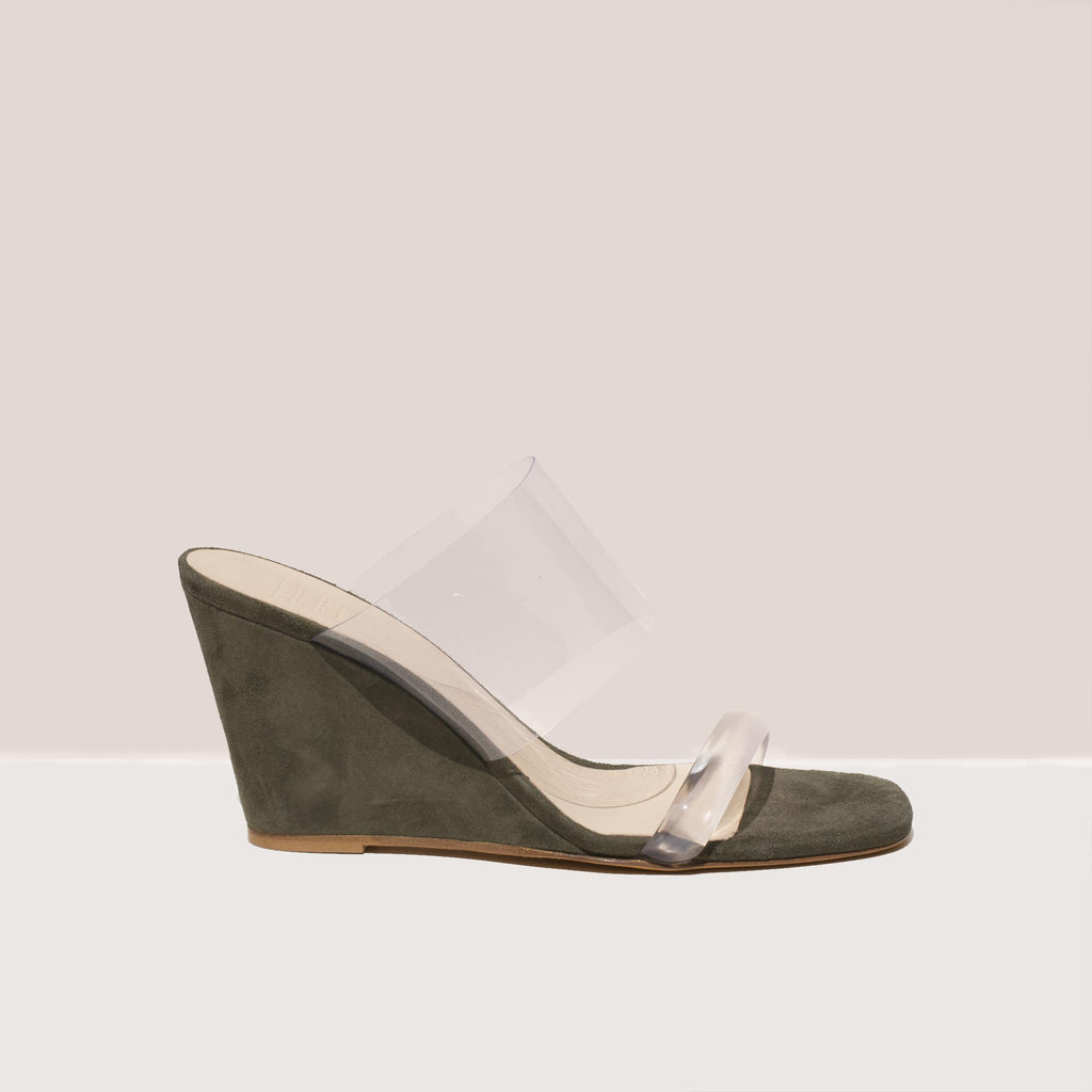 Maryam Nassir Zadeh - Olympia Wedge - Sage, side view, available at LCD.
