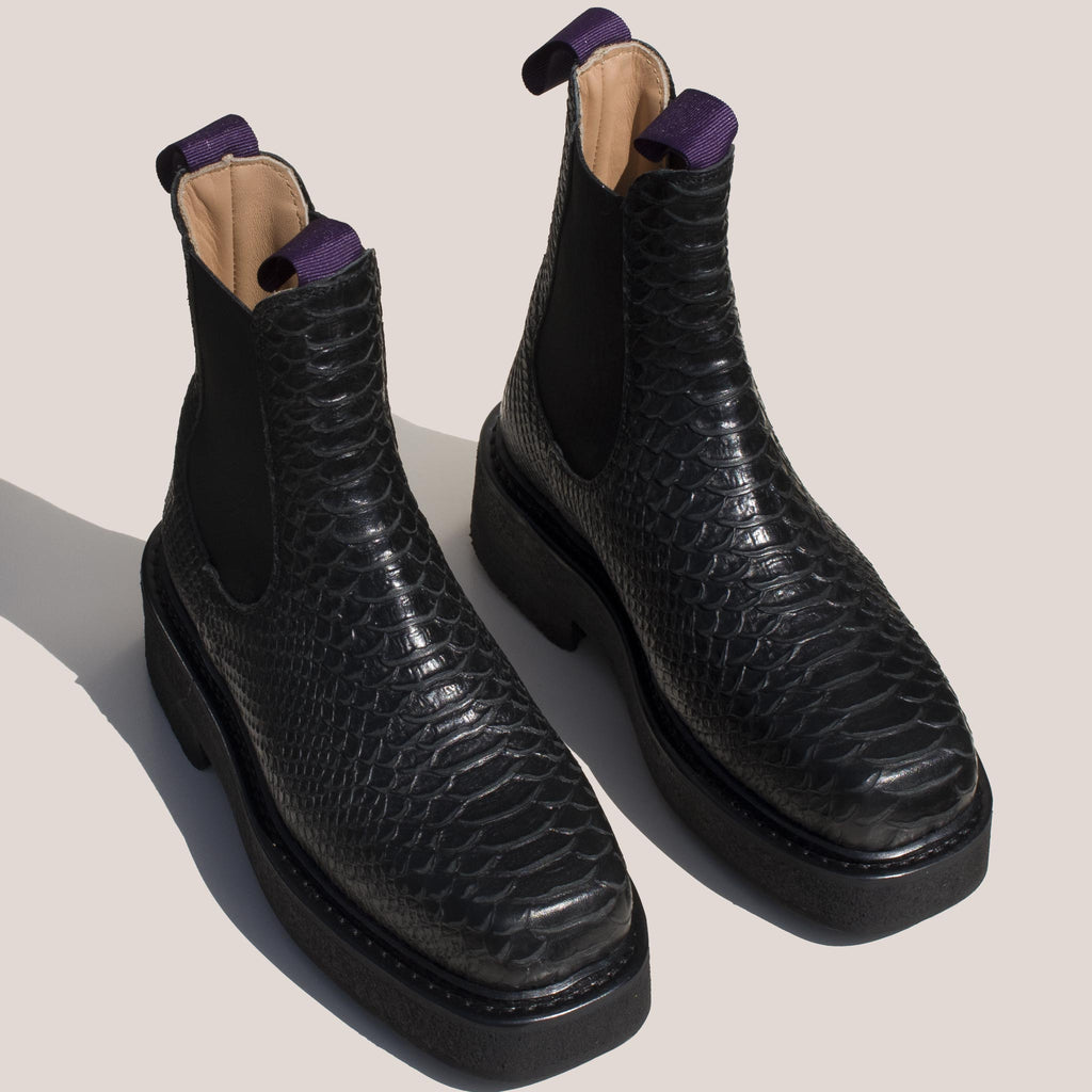 Eytys - Ortega Embossed Chelsea Boot, angled view, available at LCD.