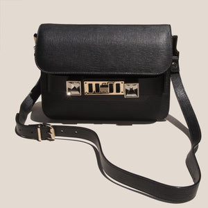 Proenza Schouler - PS11 Mini Classic Bag - black - front view, available at LCD.