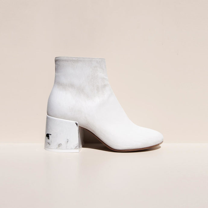 MM6 - Painted Leather Ankle Boots, side view, available at LCD.