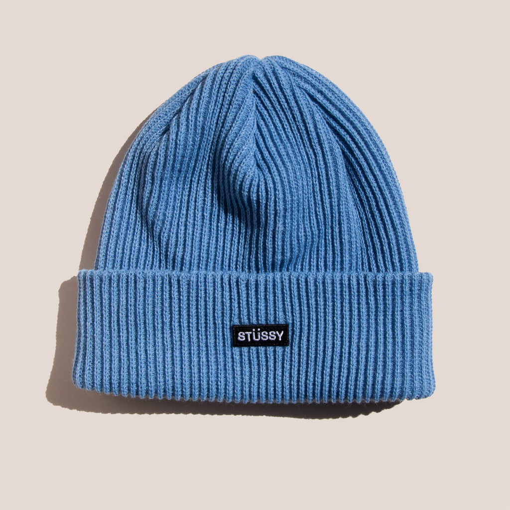 Stussy - Patch Cuff Beanie - Blue, available at LCD.