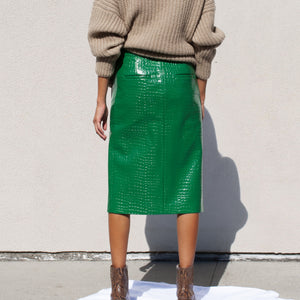 Tibi - Patent Croc Skirt, back view, available at LCD.