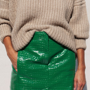 Tibi - Patent Croc Skirt, front view, available at LCD.