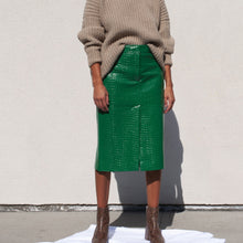 Load image into Gallery viewer, Tibi - Patent Croc Skirt, front view, available at LCD.