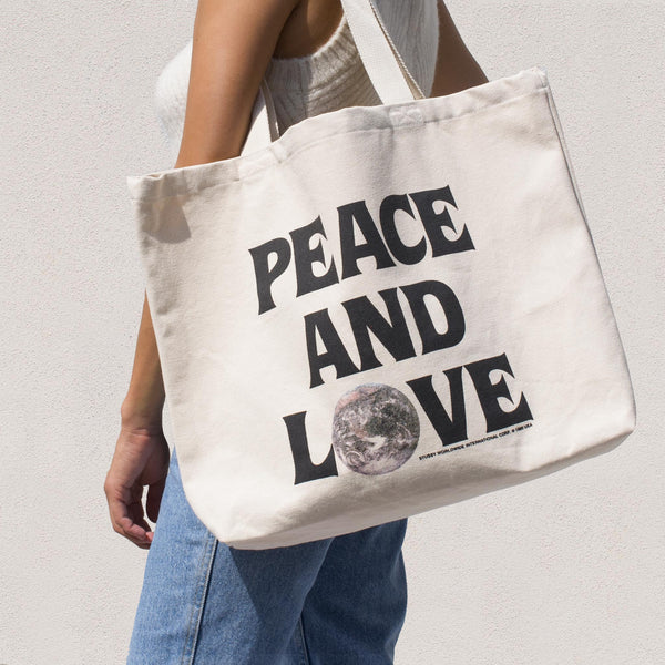 Stussy - Peace and Love Canvas Tote Bag.