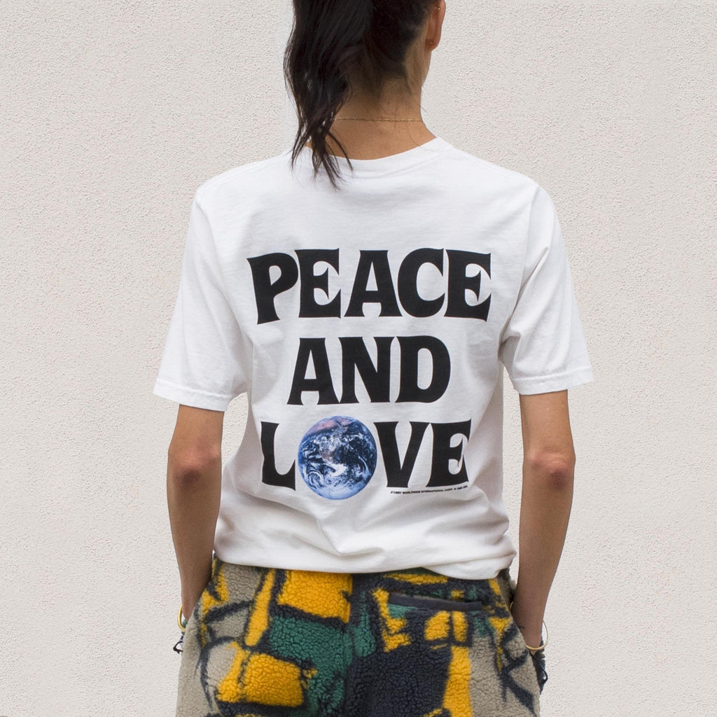 Stussy - Peace and Love Pigment Dyed Tee - Natural, back view.