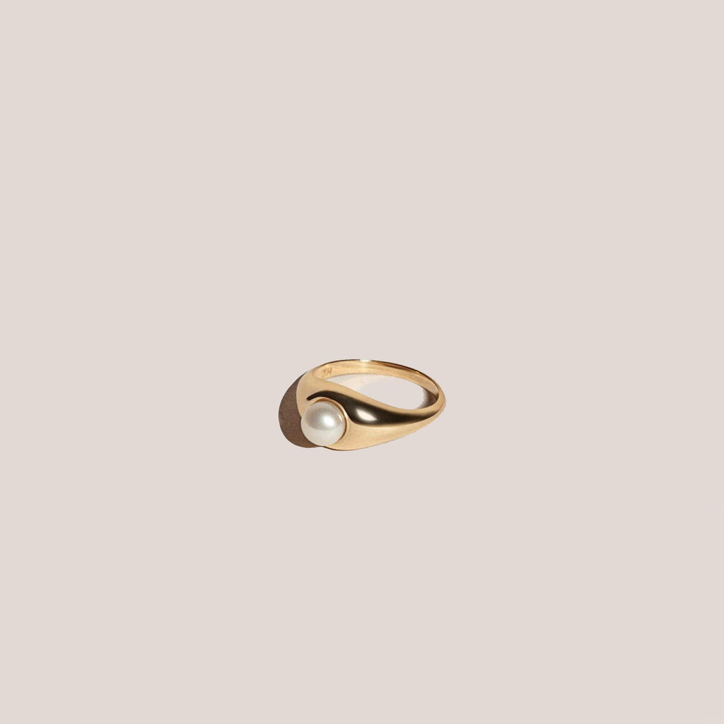 J. Hannah - Pearl Demi Signet Ring, available at LCD.