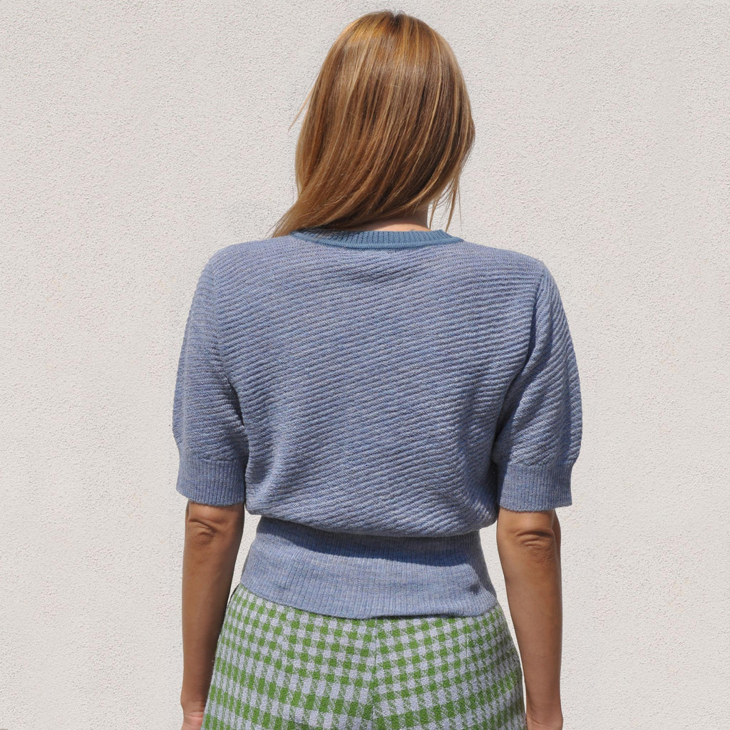 Rachel Comey -  Petunia Top - Heather Blue, back view, available at LCD.