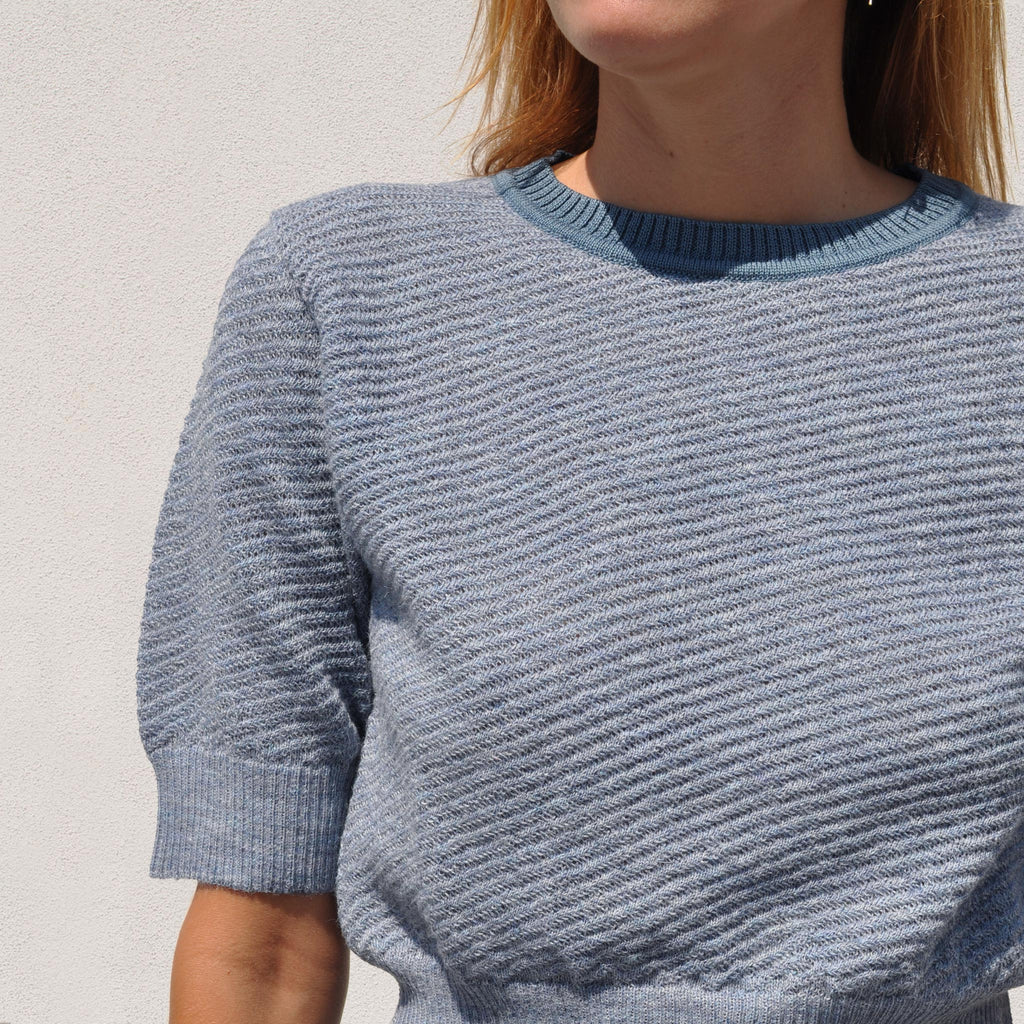 Rachel Comey -  Petunia Top - Heather Blue, front detail, available at LCD.
