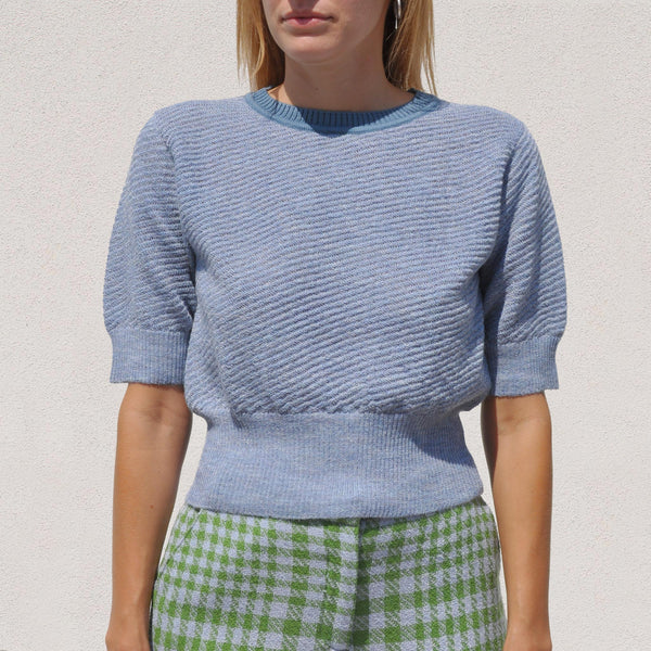 Rachel Comey -  Petunia Top - Heather Blue, front view, available at LCD.