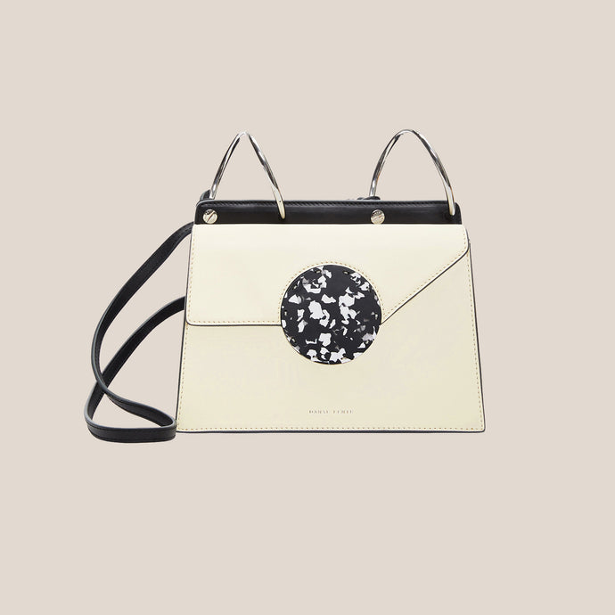 Danse Lente - Phoebe Bis Leather Bag - Dove/Black, front view, available at LCD.