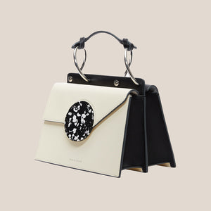 Danse Lente - Phoebe Bis Leather Bag - Dove/Black, angled view, available at LCD.
