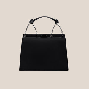Phoebe Bis Leather Bag- Dove/Black