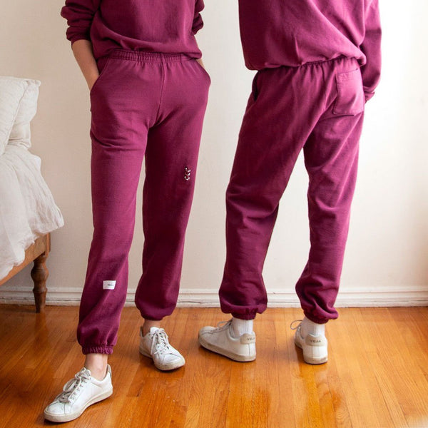 KkCo - Pierced Sweatpants - Wine Spill, available at LCD.